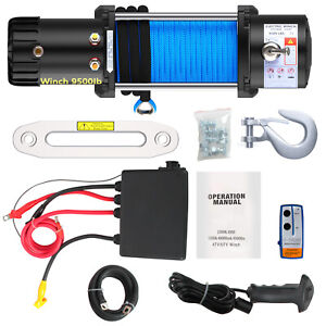 Anbull 9500lbs Electric Winch 12v Waterproof Truck Trailer Nylon Rope Off road