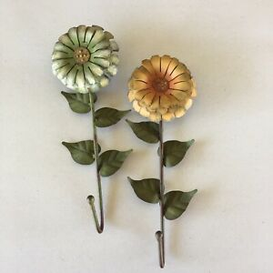 Flower Wall Coat Hooks Towel Shabby Chic Painted Metal Country Folk Qty 2