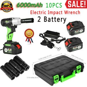 1 2 Cordless Electric Impact Wrench Gun Drill Tool Fast Charge 6 0ah 2x Battery