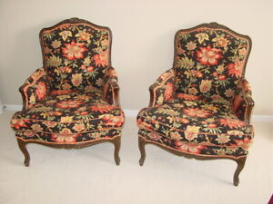 Pair Of Country French Upholstered Bergere Lounge Arm Chairs