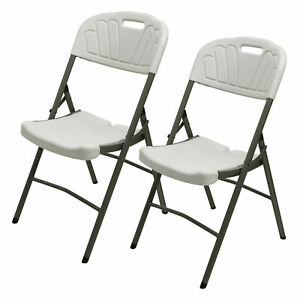 Commercial Off white Plastic Folding Chair Stackable Picnic Furniture Waterproof