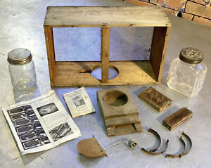 Lot Of Vtg Beekeeping Equipment Queen Bee Cages Hive Cool Jars W Punched Tops