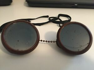 Vintage Welder Goggles Steampunk Glasses Green Lenses Used Fair Cond