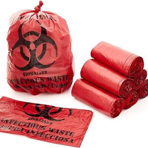 10 Gallon Biohazard Bag For Infectious Waste Trash Liners Red