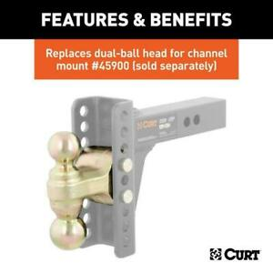 Curt Adjustable Hitch Channel Mount Dual Ball Adjustable 2 Shank 14000lbs 6 Drop