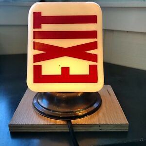 Vintage 1930s 40s Lighted Exit Sign Glass White With Red Text Wall Mount