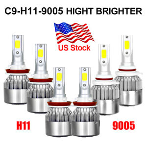 6x H11 9005 H11 Led Combo Headlight Fog Light Kit High Low Beam Bulb Auto Truck