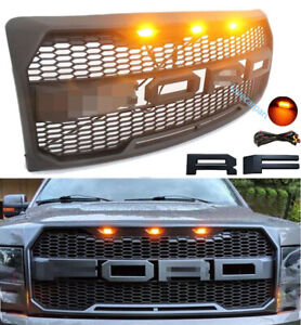 For Ford F150 Grille Bumper Grill Fit 2009 2014 Raptor Style Grill W letters led