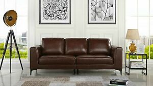 Mid Century Modern Leather Fabric 3 Seat Sofa Couch 81 1 W Inches Dark Brown