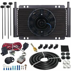 15 Row Transmission Oil Cooler 6 Electric Fan Adjustable Thermostat Switch Kit