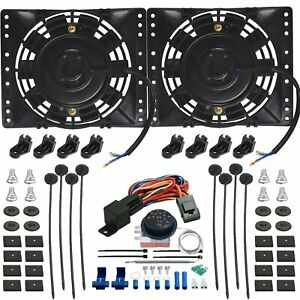 Dual 6 Inch Electric Auto Radiator Cooling Fan Adjustable Thermostat Switch Kit