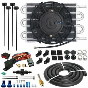 6 Row Transmission Cooler Electric Fan 180 F 6an In Hose Fitting Thermostat Kit