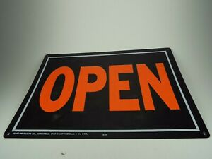 Hy ko Open And Closed Sign Black With Orange Writing Business Office
