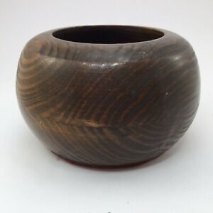Vintage Mid Century Mcm Wood Bowl With Felted Bottom 4 X 3 Inches