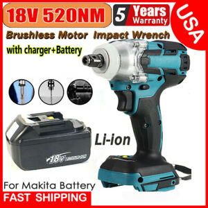 1 2 520nm 18v Torque Brushless Cordless Electric Impact Wrench Driver Battery