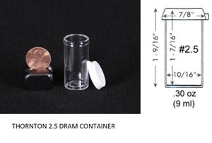 Thornton 2 5 Dram Clear Plastic Vial Container Small Collector Holder 50x