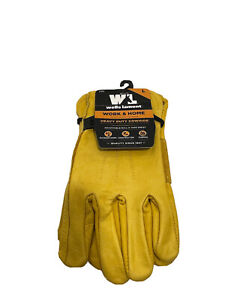 Men s Leather Work Gloves With Adjustable Wrist Large Wells Lamont 1132l saddle