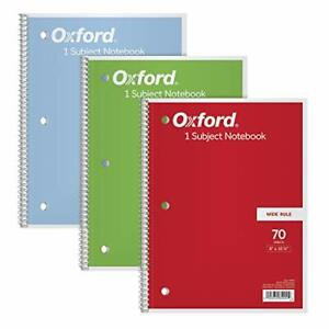 Tops oxford 1 subject Notebooks 8 X 10 1 2 Wide Rule 70 Sheets 3 Pack Color