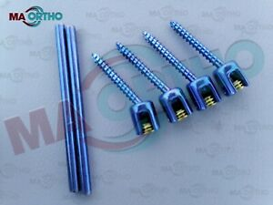Polyaxial Screw Spine System Pedicle Screw 5 0mm And Rod 6 Pcs Orthopedic Spine