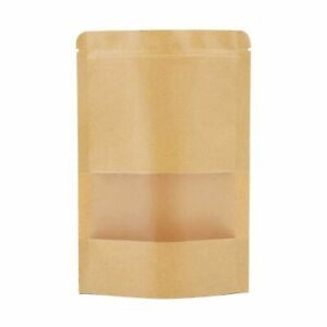 Sealable Bags Natural Kraft Stand Up Pouches Zip Lock Coffee Food Grade Stand