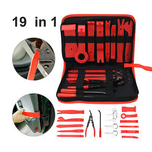 19pcs Car Trim Removal Tool Hand Tools Pry Bar Panel Door Interior Clip Kit Set