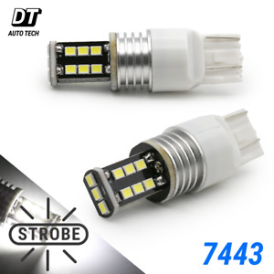 7443 7444 White Led Strobe Flash Safety Bright Brake Tail Parking Light Bulbs