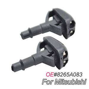 Pair Front Windshield Wiper Water Washer Nozzle Jet For Mitsubishi Pajero L200