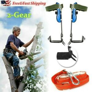 2 gear Tree Climbing Spike Set Adjustable Belt Lanyard Rope With Hard Claws Usa