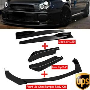 Glossy Black Front Bumper Spoiler Body Kit side Skirt rear Lip For Subaru Wrx