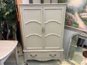 Antique Painted Wardrobe Chifforobe Armoire Light Gray Distressed French Country