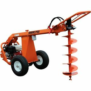 Bravepro Hydraulic 1 man Towable Earth Auger Post Hole Digger 270cc 8in Dia