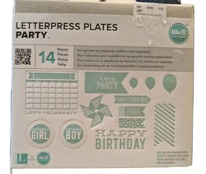 We R Memory Keepers Letterpress Plates Party 14 Piece Set Balloons Pinwheel