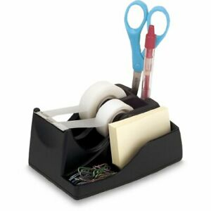 Deluxe Dual Desktop Tape Dispenser With Storage 6 X 4 125 X 2 75 Inches Black