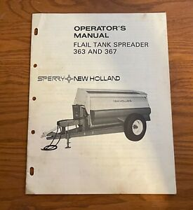 Sperry New Holland Flail Tank Spreader 363 367 Operators Manual Assembly Info