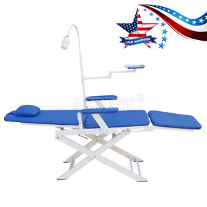 Gm c004 Dental Portable Folding Chair Blue With Rechargeable Led Light