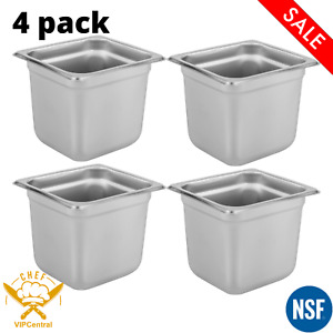 4 Pack 1 6 Size 6 Inches Deep Anti jam Stainless Steel Steam Table Hotel Pan