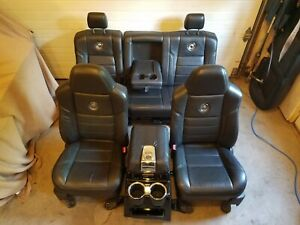 Ford Harley Davidson F250 F350 Seats Black Leather Console 2009 2010 40 60 Set