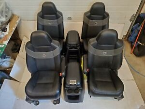 Ford Harley Davidson F250 F350 Seats Black Leather Console 2005 Quad Bucket Set