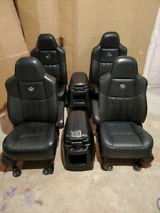Ford Harley Davidson F250 F350 Bucket Seat Set Black Leather Console 2004 99 07