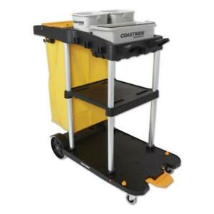 Coastwide Professional 24380828 Click connect Janitorial Cart 3 Shelves 43 2 X