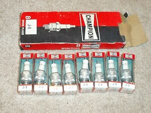 Vintage Box Of Champion J 8 Spark Plugs Nos Pack Of 8