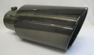 5 Inlet 8 Outlet 18 Long Black Chrome Diesel Exhaust Tip Dodge