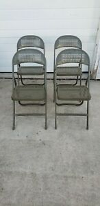 Vintage Metal Folding Chairs Olive Green Industrial Patina Mid Century 1940 Era