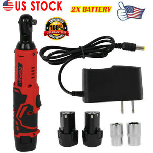3 8 12v Electric Cordless Ratchet Right Angle Wrench Tool Set 2 Battery Usa
