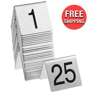 No 1 To 25 Stainless Steel Table Tent Order Number Signs Commercial Restaurant