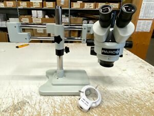 Parco Stereo Zoom Trinocular Microscope 7 45x Double Arm Boom Stand