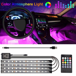 Car Rgb 48 Led Light Strip Interior Atmosphere Neon Lamp Remote Control For Cars
