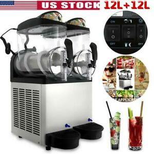 Commercial 2 Tank 24l Frozen Drink Slush Making Slush Machine Smoothie Maker Us