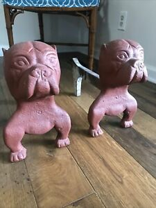 Rare Antique Iron Bulldog Andirons