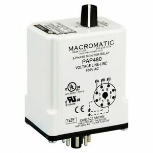 Macromatic Pap240 3 Phase Monitor Relay spdt 240vac 8 Pin